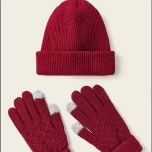 Red hat and glove set - new